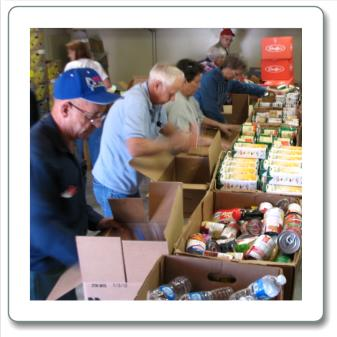 food bank packing boxes